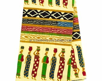 Yellow Industrious Africa women from Africa/ African Print made in Africa/ African fabric/ Wax print/ Traditional fabric/ 6 yards TP29
