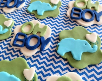 12 Fondant cupcake toppers, baby shower, oh boy, fondant elephant with heart, fondant animal, baby boy