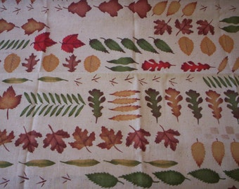Fall fabric/Leaves prints fabric/Cotton leaf fabric/Vintage leaves fabric/Quilt fabric/Craft fabric/Sewing supply/20'' by 25'' fabric/