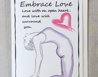Embrace Love Greeting Card...Inspirational love...Inspiring Yoga Art