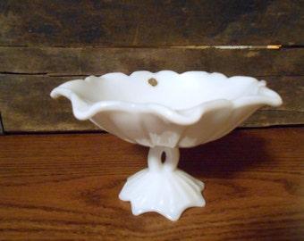 Westmoreland White milk glass flower pedestal dish