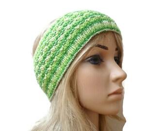 Wool Hand Knitted Headband, Green Stripe 100% Wool Knitted Ear Warmer, DK Wool Knit Headband, Eco Friendly, Clickclackknits