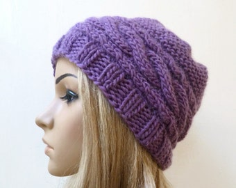 Sale Women Wool Mohair Hand Knitted Cabled Beanie Hat, Purple Merino Wool Mohair Beanie Hat, Eco Friendly Beanie Hat, ClickClackKnits