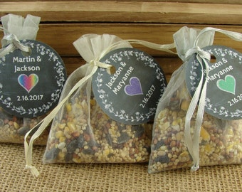 DIY Personalized Birdseed Wedding Favors In Organza Bags-20 Pieces-Chalkboard Laurel & Heart Design - Your Choice of Color - Wedding - clh1