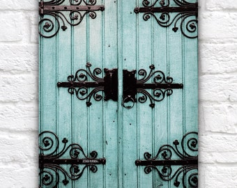Pastel Blue and Black Door, Europe Travel Photo, Door Photography, Farmhouse Chic, Farmhouse Blue, Large Door Wall Art, Unique Decor