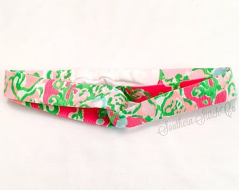 """Turban Style Headband in Lilly Pulitzer """"Southern Charm"""" Fabric"""