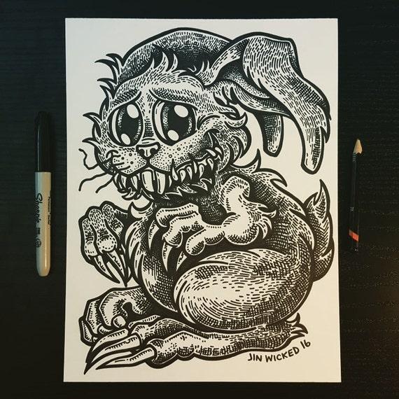 Sharpie Sketch Drawing -  Killer Bunny