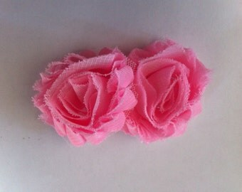 Petite pink shabby chic flower hair clip