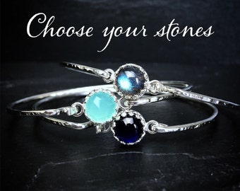 Gemstone Stacking Bangles / 14k Gold Filled or Sterling Silver Birthstone Bangles Set/ Gifts for Her / Modern Birthstone Stacking Bangles