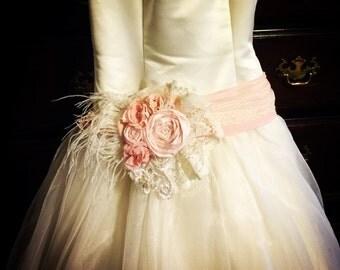 Blush pink wedding dress sash belt bridesmaids maternity sash fabric flower ivory blush pink vintage lace shabby chic feather photo bridal