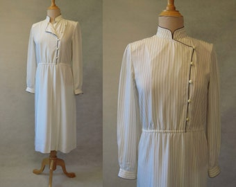 Ivory and Navy Shirtwaist  Dress With Chinese Style Neckline