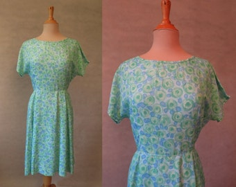 Green and Blue Floral Dress - 1960s