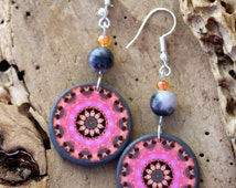 Mandala Dangle, Pink Grey, Gemstone Earrings, Statement Jewelry,  Mountain Jade, Bohemian Earrings, Vibrant Colorful, Boho Fashion Jewellery