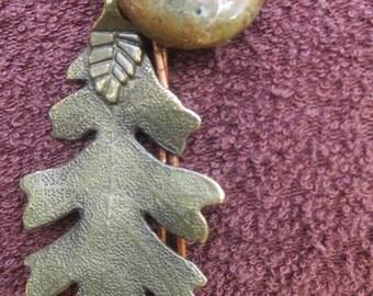 Boho Lariat, Jasper Gemstone Lariat, Handmade Jewellery, Brass Bead Lariat, Designer Charm Lariat, Leaf Charm Bead Lariat, Leather Lariat