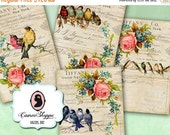 75% OFF SALE ENCHANTED Birds 02 Digital Collage Sheet Vintage Roses Birds Digital download