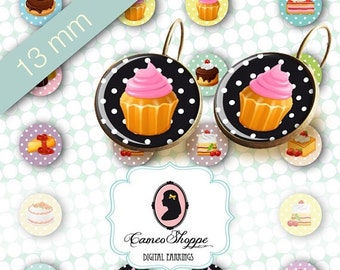 75% OFF SALE Digital collage Sheet Circle SWEETS Polka Dots 13 mm Digital Collage Sheet for 12 mm pairs of earrings