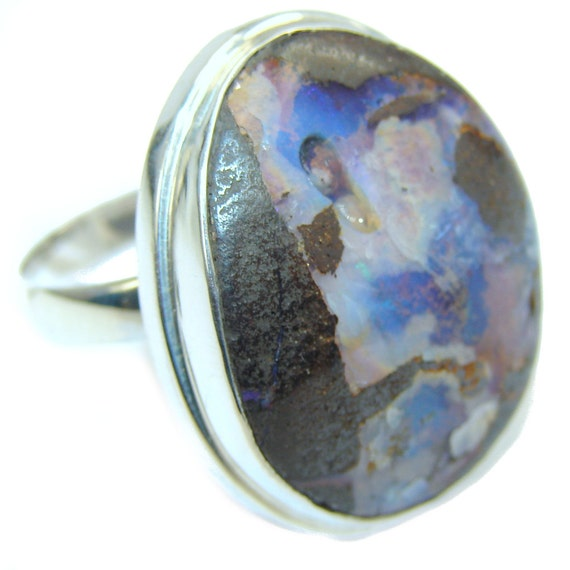 boulder opal sterling silver ring weight by silverrushstyle