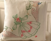 Upcycled Cottage Chic Vintage patchwork quilt and embroidery pillow cover 14x14