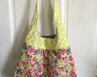 Shoulder Bag Handmade Slouchy Carry All  Vintage Feedsack Fabric Pink Green