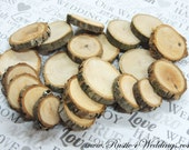 200 qty 1 to 1.5 inch Small Wood Slices, Eclectic Mix, for crafts, buttons, wood art, wedding table scatters, confetti, wood mosaics