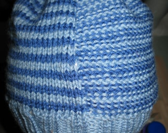 Knit Wool Beanie - blue stripes - medium (toddler - small child)
