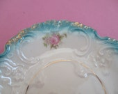 Porcelain Soap Dish Vintage Turquoise Ceramic Vanity Trinket Dish Scallop Edge Handpainted Tiny Rose Decorative Plate Bath Decor Ring Tray