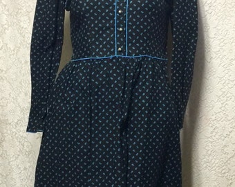60's Vintage  Lanz Originals Cotton Victorian Style Shirt Dress