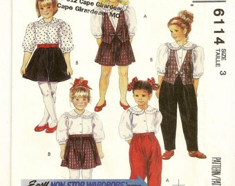 "A Ruffled Collar Blouse, Vest, Pull-On Culottes and Pants Sewing Pattern: Uncut - Childrens Size 3, Breast 22"" • McCall's 6114"