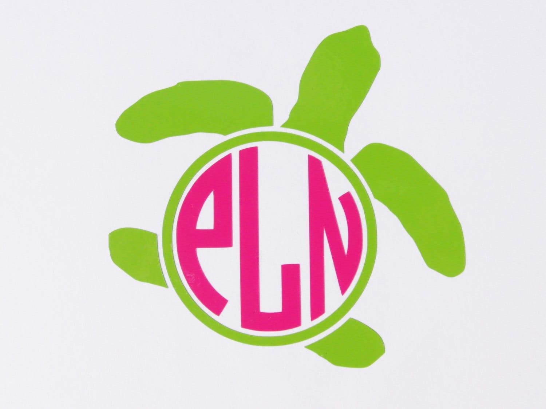Download Sea turtle monogram vinyl decal 5 inch size
