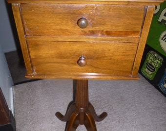 Funky Federal Style Telephone Table Or Candle Stand With 2 Drawers And  Scalloped Edge Around Tabletop