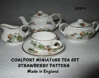 COALPORT STRAWBERRY Tea Set Miniature Made in England Collectible Gift Item