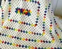 CYBERSALE Vintage Crocheted Afghan, Blanket, Throw, Cream, Variegated Rainbow Stripes and White Edging