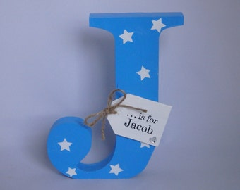Personalised Wooden Initial Letter Free Standing Baby Boy Girl Gift Nursery Bedroom Christening Shabby Chic Handcrafted