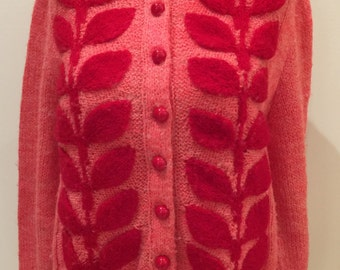 Hand Knit pink and red leaf Cardigan Sweater