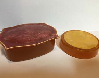 Vintage celluloid boxes, vanity box, powder box, marbalized top, 2 boxes included  FREE SHIPPING