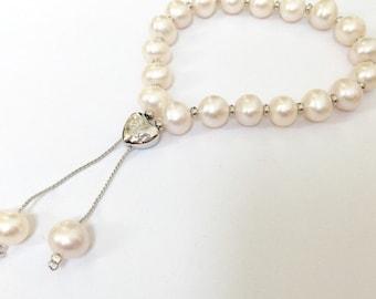Freshwater Pearl heart charm bracelet - friendship bracelet - bridesmaids gift- Valentine's Gift Idea