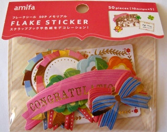 """SALE Amifa of Japan Die Cut Stickers/Labels  """"CONGRATULATIONS"""" with golden accents. Scrapbooking, Planners, Paper crafts. 50 pieces"""