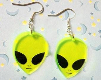 Pair Of Rad Alien Acrylic Charm Earrings, 90's Alien Earrings