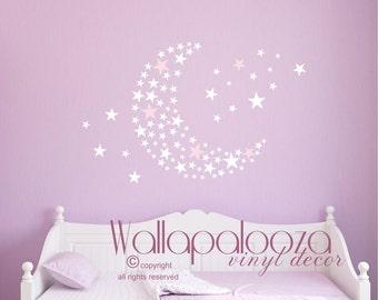 star moon wall decal - nursery wall art - star and moon nursery decal - girls room decal - stars decal - set of stars decal - baby wall art