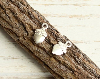925 Sterling Silver Acorn Charms -- 2 Pieces