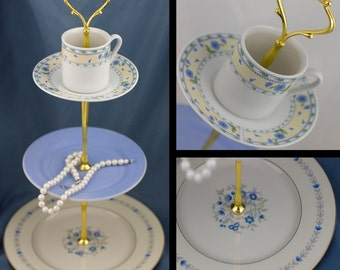 3 Tier Cake Stand Tea Cup Top Tiered Server Blue White Yellow Floral China Jewelry Dessert Tidbit Stand Serving Cake Plate