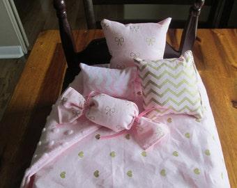 Heart Doll Comforter, Pink Bed Linen, AG Doll Bedding