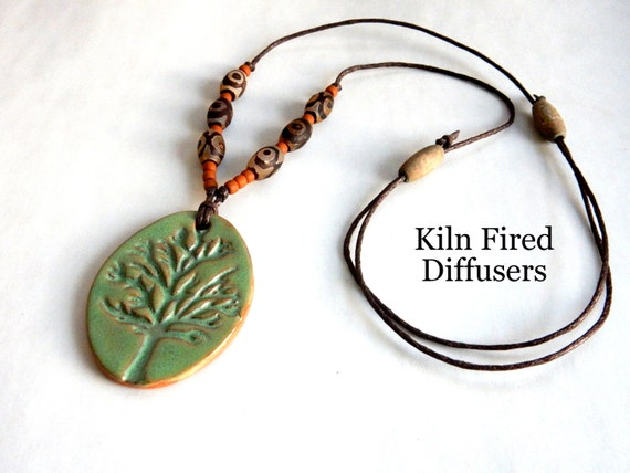 Terracotta Neck Pendant Diffuser ~ Tree of life clay diffuser necklace for essential oils large