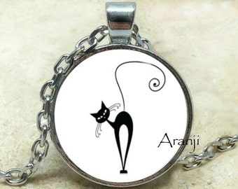 Monique the cat art pendant, black cat pendant, cat pendant, black cat necklace, cat necklace, cat art, black cat, Pendant #AN113P