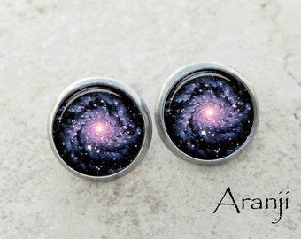 Glass dome spiral galaxy earrings, spiral galaxy earrings, galaxy stud earrings, galaxy earrings SP116E