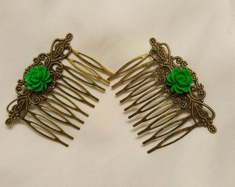 Hair Combs Kelly Green Roses on Antique Gold