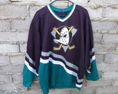 Vintage Mighty Ducks Jersey Hockey Team AnaHeim Disney Movie CCM Tag and Logo on Shirt Rare Item Collectors Early 1990s sz Large
