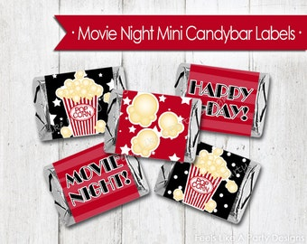 Movie Night Mini Candy Bar Wrappers - Instant Download