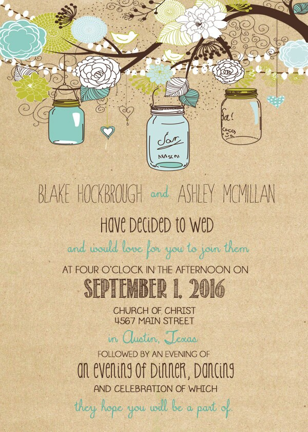Cheap Wedding Invitations Packages: Rustic Wedding Invitation Package With Flowers And Jars