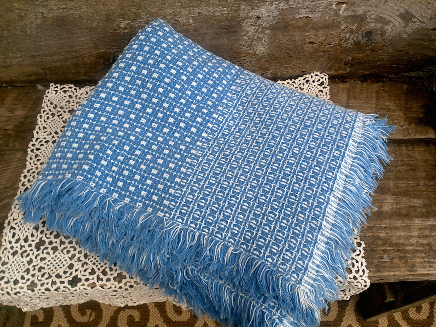 Tablecloth Blue And White Woven Homespun 55 X